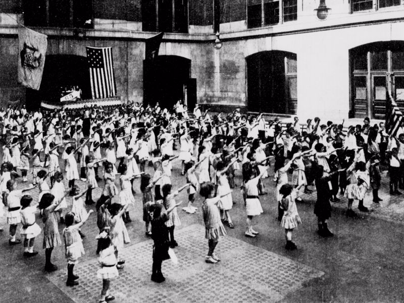 Smithsonian American children saluting the flag like Hitler