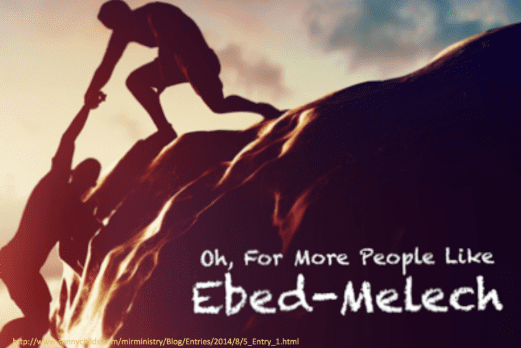 Ebed-Melech rescues Jeremiah from the stocks