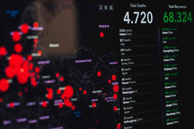 coronavirus statistics on screen